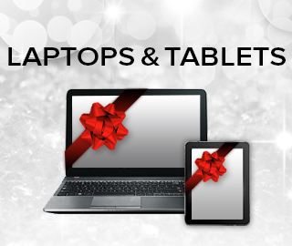 Holiday theme background with picture of a laptop and tablet with bow. Click to shop for laptops and tablets.