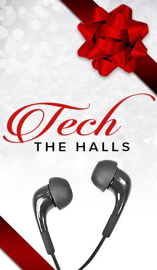 Holiday theme background with picture of headphones and a ribbon with bow. Tech the halls. Click to shop.
